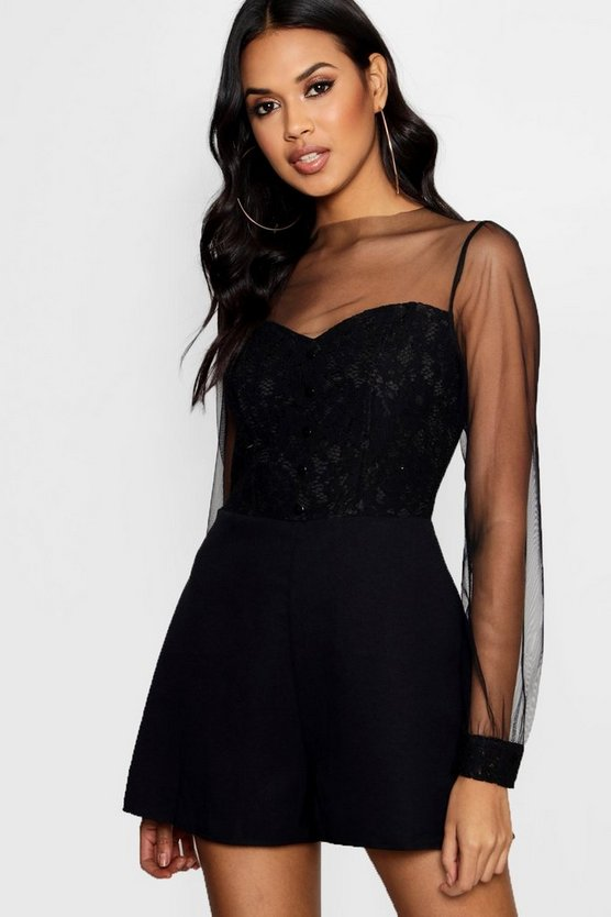 Womens All Over Lace Button Detail Playsuit