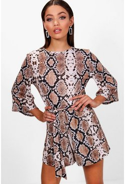 Womens Brown Snake Print Kimono Sleeve Playsuit