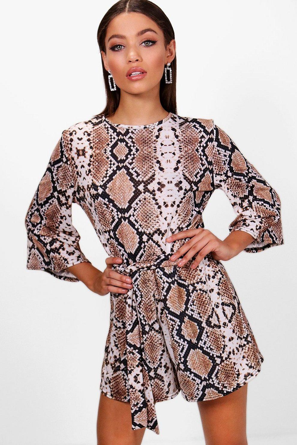 46802662c78 Snake Print Kimono Sleeve Playsuit