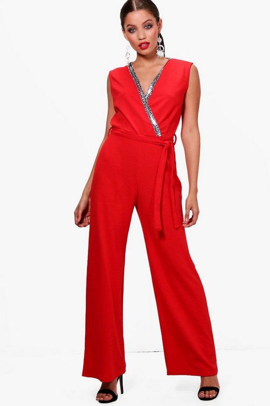 Chain Trim Wrap Front Jumpsuit