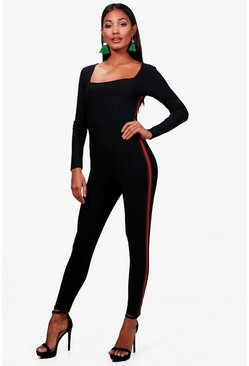 Square Neck Sports Stripe Unitard, Черный, Женские