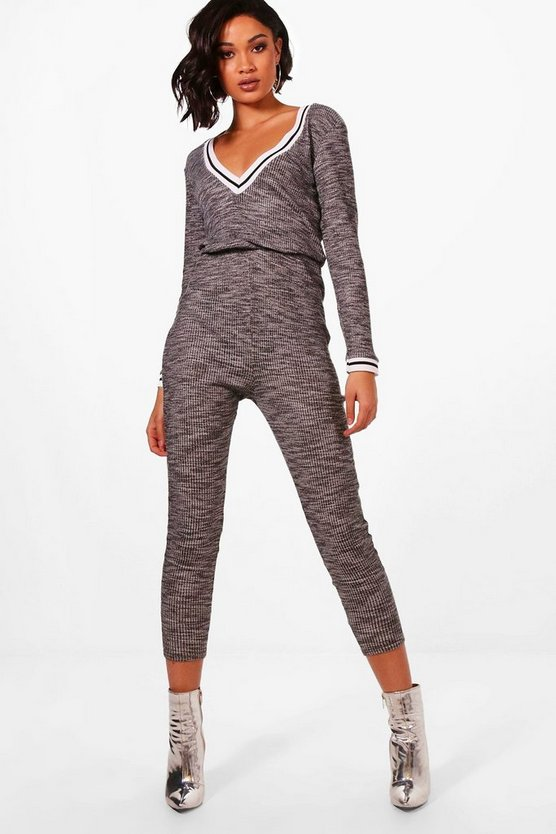 Slouch Varsity Sports Stripe Jumpsuit