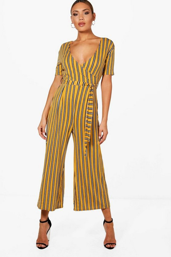 Womens Mustard Striped Wrap Front Culotte Jumpsuit
