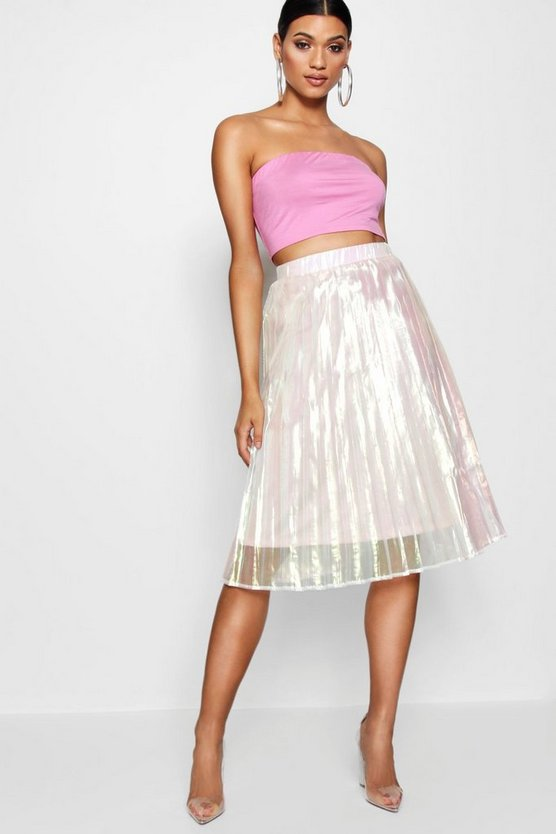 Ivory Woven Irredesent Pleated Midi Skirt