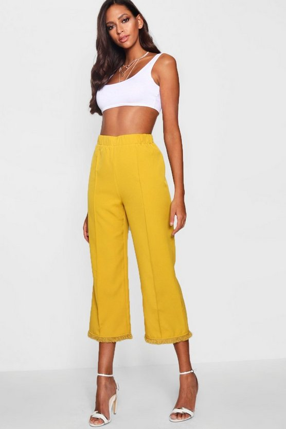 Woven Tassel Hem Trousers, Chartreuse, Donna