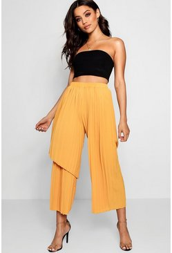 Womens Orange Woven Pleated Asymetric Pants