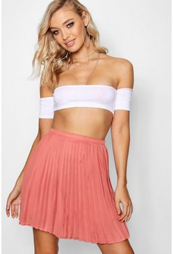 Womens Coral Pleated Woven Mini Skirt