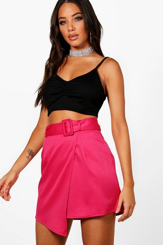Woven Satin Belted Wrap Mini Skirt