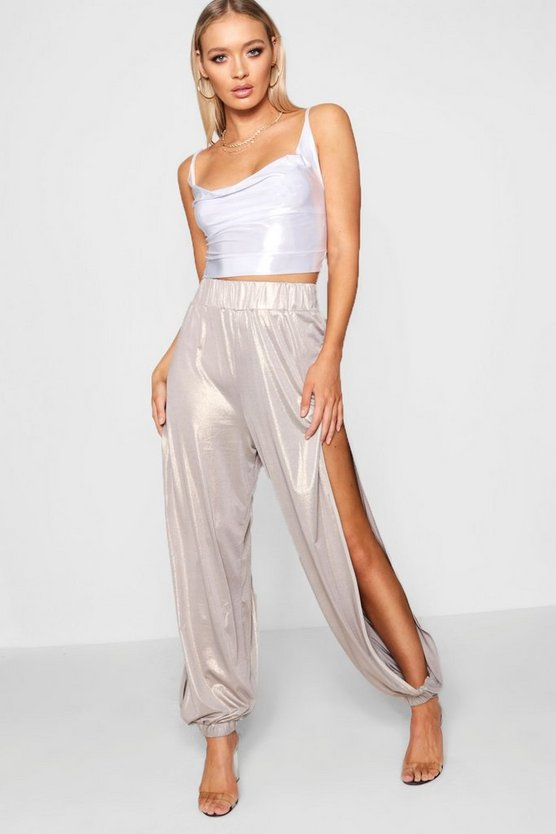 Metallic Split Side Hareem Trouser