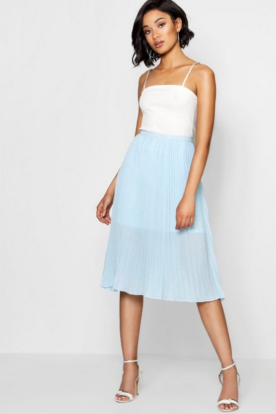 Woven Polka Dot Pleated Midi Skirt