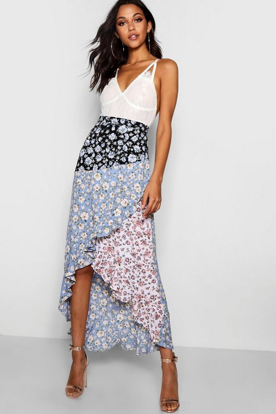 Orla Woven Spliced Floral Maxi Skirt