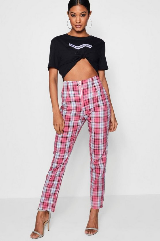 Womens Baby pink Woven Skinny Check Trouser