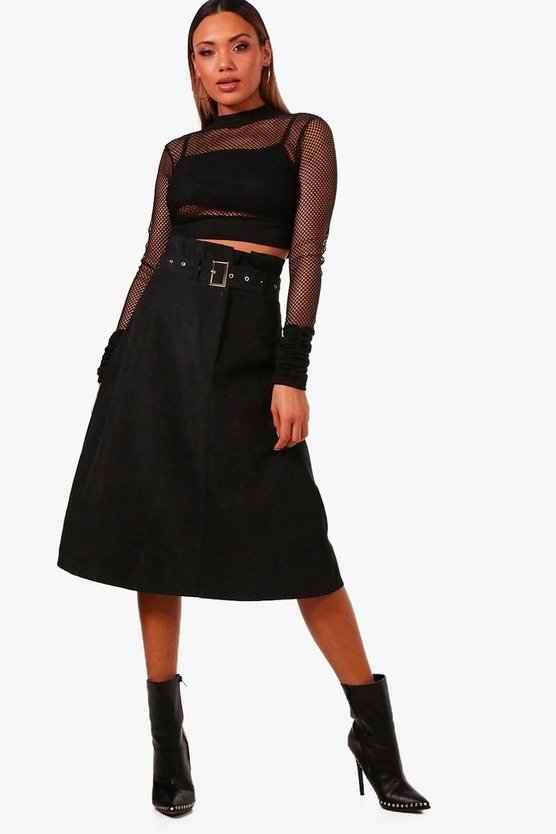 Woven Suedette Belted Paperbag Midi Skirt