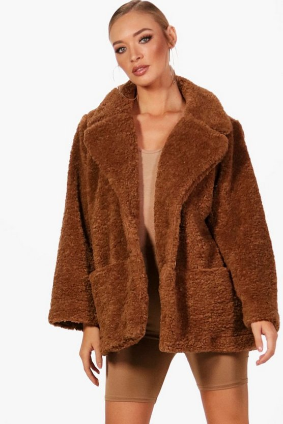 Womens Camel Teddy Faux Fur Coat