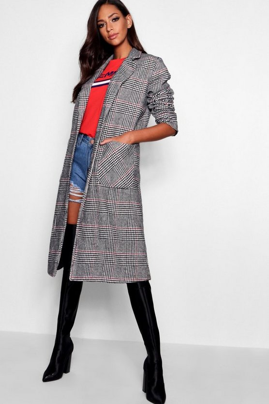 Check Wool Look Coat