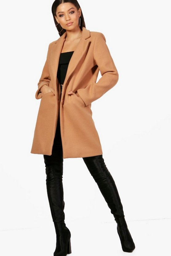 Button Wool Look Coat