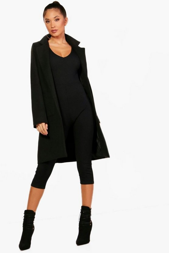 Collared Wool Look Coat With Pockets