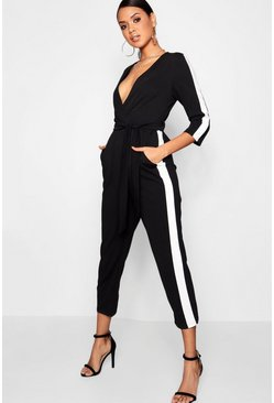 Womens Black Stripe Side Jumpsuit