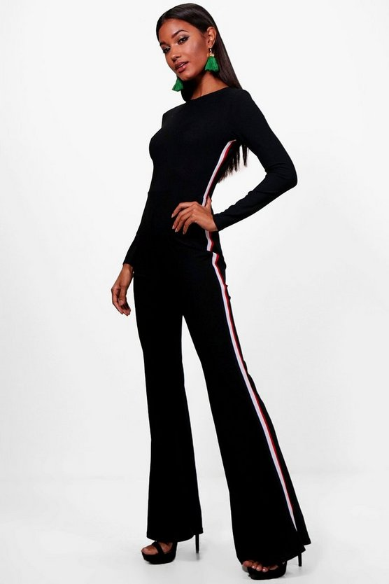 Womens Black Sports Stripe Wide Leg Jumpsuit