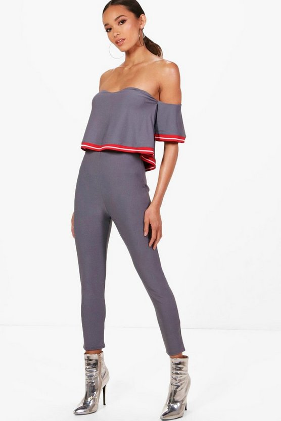 Skinny Sports Stripe Jumpsuit