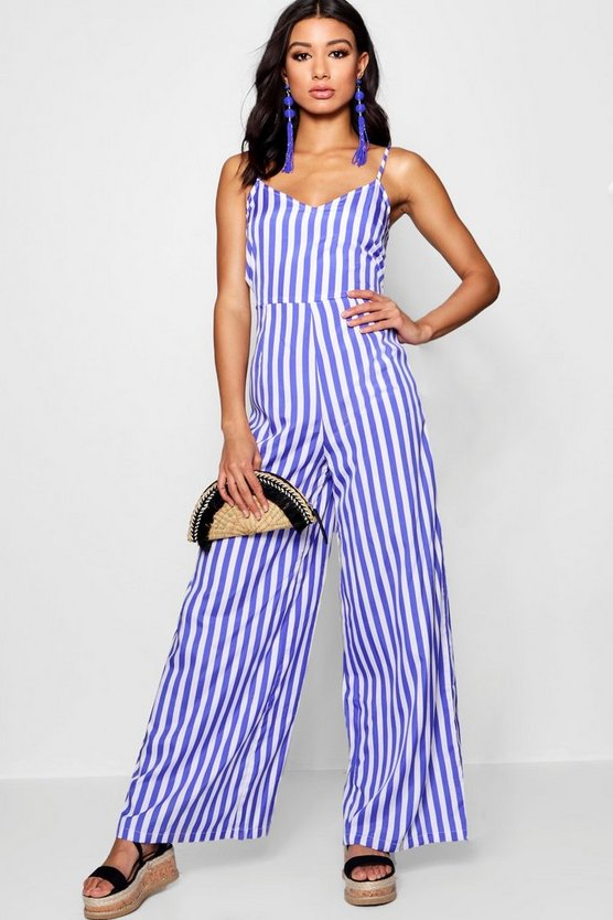 Womens Purple Wide Leg Stripe Jumpsuit