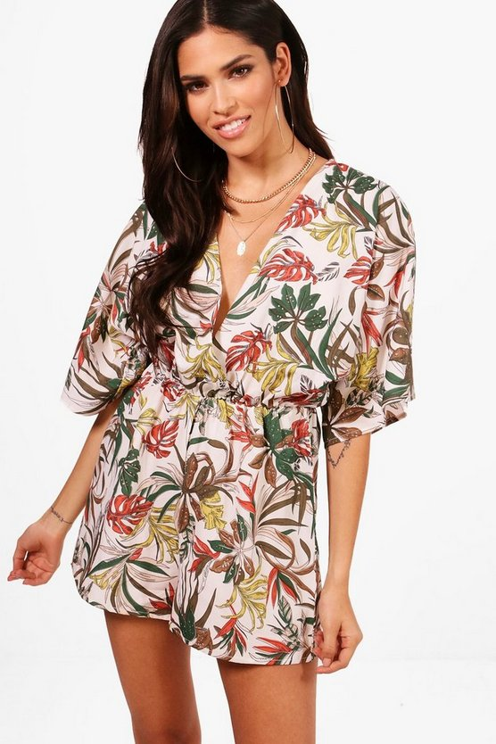 Safari Print Cut Front Wrap Playsuit