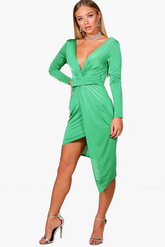Amber Slinky Asymmetric Wrap Midi Dress