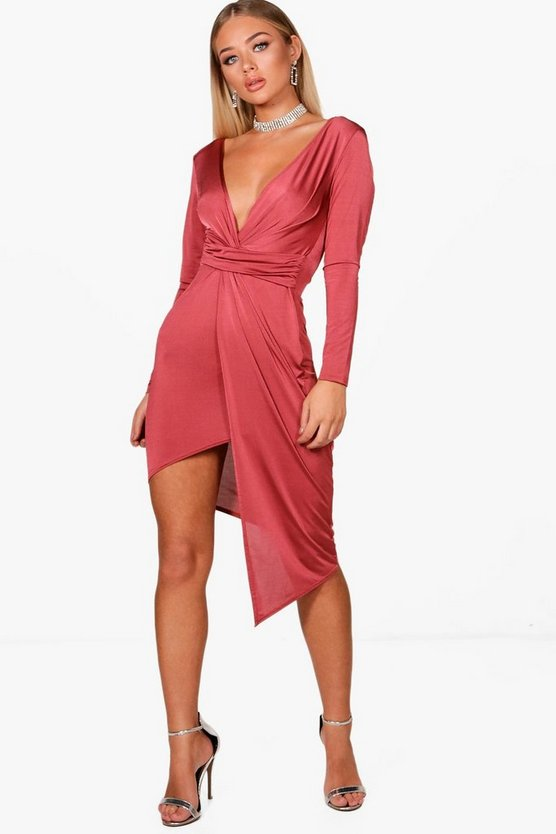 Slinky Asymmetric Wrap Midi Dress