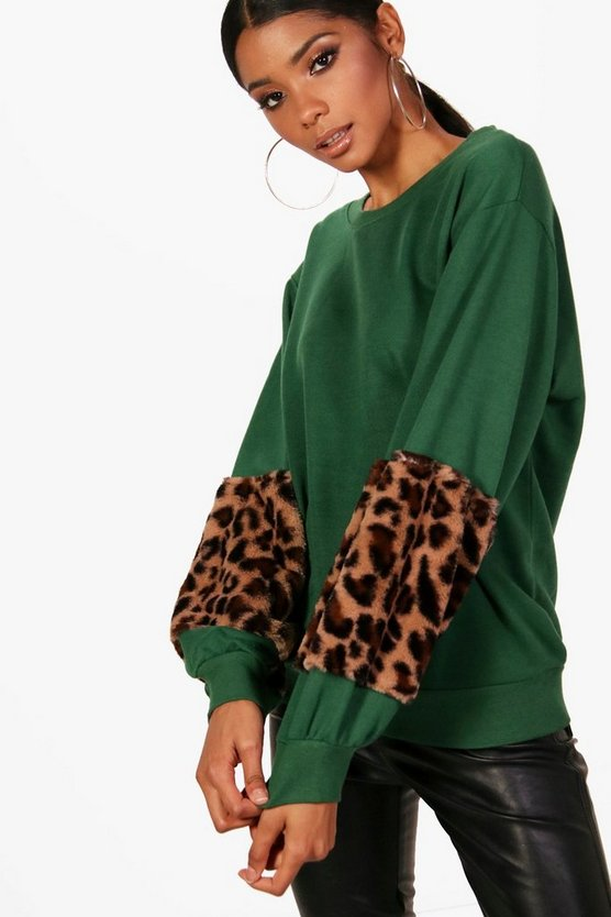 Amerie Leopard Faux Fur Trim Sweat