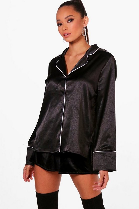 Satin Piped Pyjama Shirt, Black, Donna