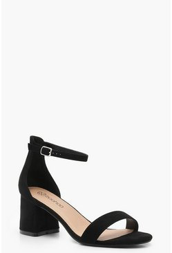 Womens Black Extra Wide Fit Suedette Block Heels