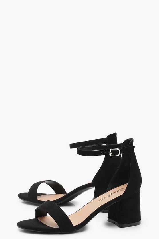 Extra Wide Fit Suedette Block Heels
