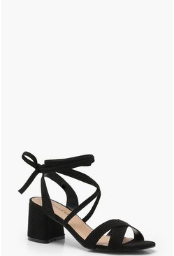 Dam Black Extra Wide Fit Cross Strap Ankle Wrap Heels