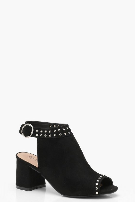 Wide Fit Pin Stud Trim Peeptoe Shoe Boots