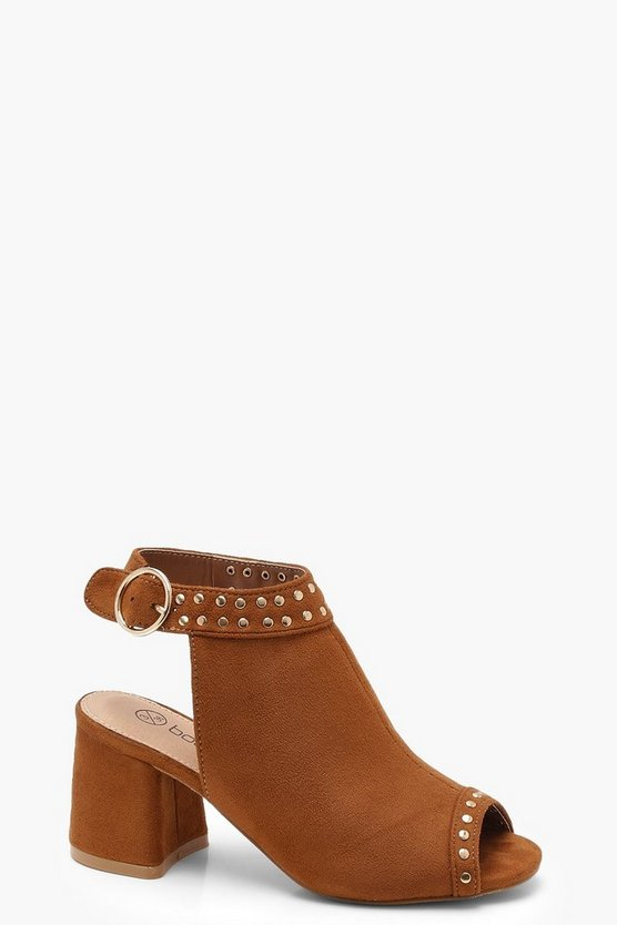 Womens Tan Pin Stud Trim Peeptoe Shoe Boots