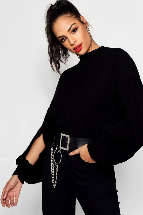 Turtle Neck Crop Split Sleeve Jumper