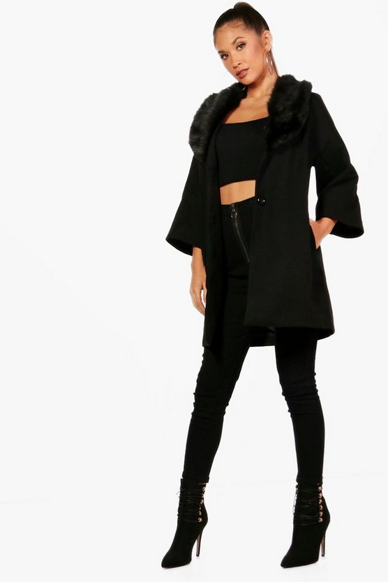 Faux Fur Collar Wool Look Coat