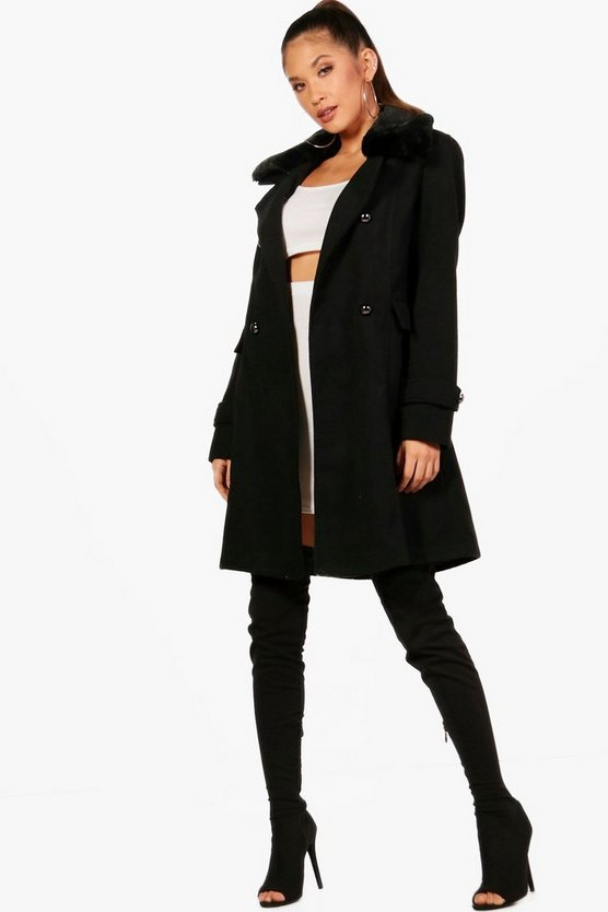 Womens Black Faux Fur Collar Double Breasted Coat