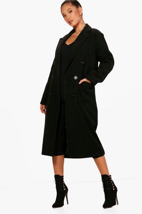 Long Line Double Breasted Wool Look Coat