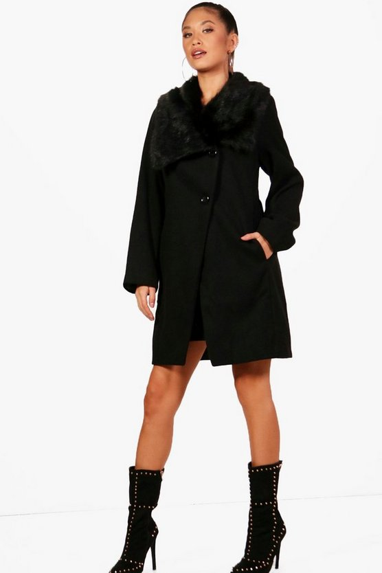 Oversized Faux Fur Collar Wool Look Coat