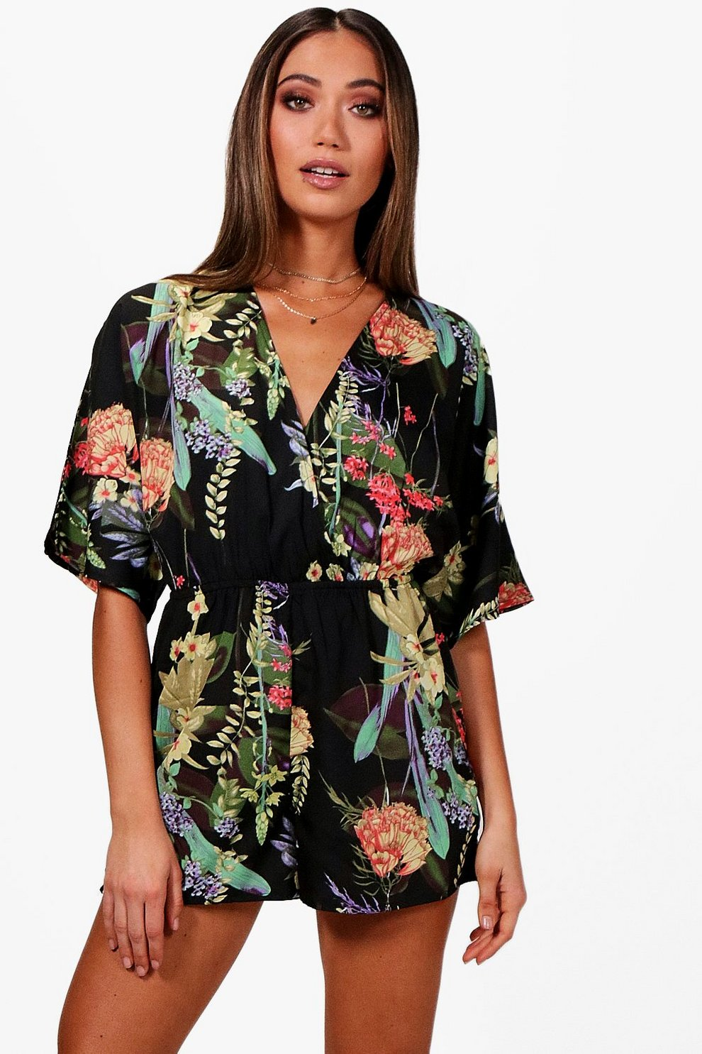8b2402fb6fa Floral Kimono Sleeve Playsuit