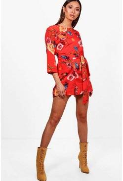 Womens Red Knot Front 3/4 Sleeve Playsuit