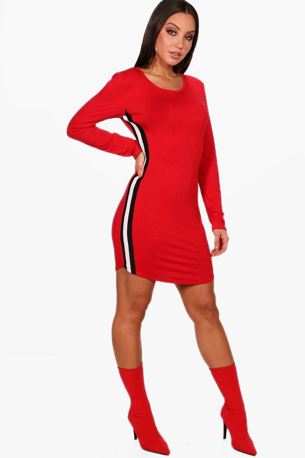 611368a436350 Womens Red Sports Stripe Bodycon Dress