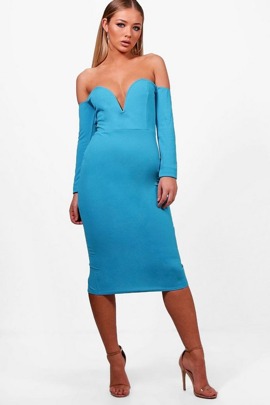 Sweetheart Off the Shoulder Midi Dress