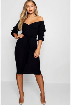 Womens Black Off the Shoulder Sleeve Detail Midi Dress