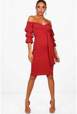Womens Cranberry Off the Shoulder Sleeve Detail Midi Dress