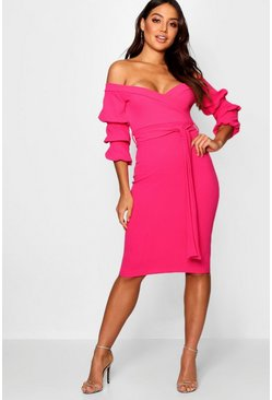 Hot pink Off the Shoulder Sleeve Detail Midi Dress