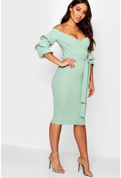 Womens Sage Off the Shoulder Sleeve Detail Midi Dress