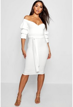 White Off the Shoulder Sleeve Detail Midi Dress