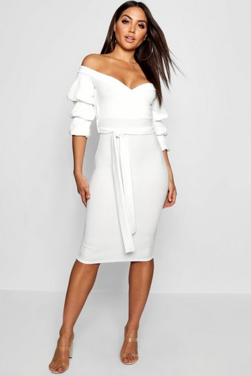 Womens White Off the Shoulder Sleeve Detail Midi Dress